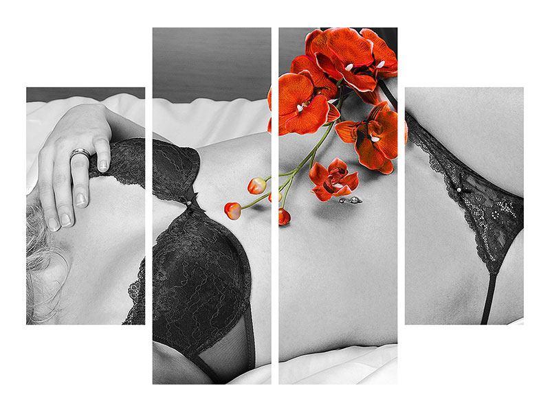 Leinwandbild 4-teilig Dessous-Schönheit