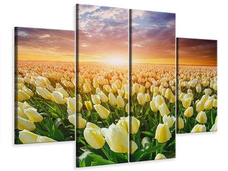 Leinwandbild 4-teilig Sonnenaufgang bei den Tulpen