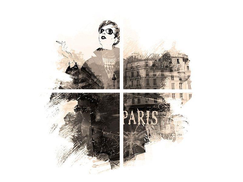 Leinwandbild 4-teilig Pariser Modell