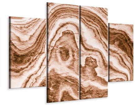 Leinwandbild 4-teilig Marmor in Sepia
