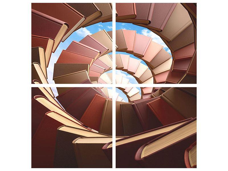 Leinwandbild 4-teilig Abstrakte Bücher-Wendeltreppe