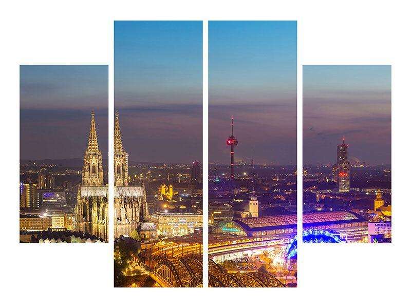 Leinwandbild 4-teilig Skyline Kölner Dom bei Nacht