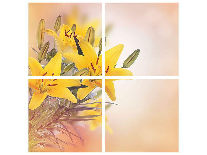 Leinwandbild 4-teilig Gelbes Lilientrio