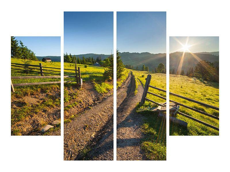 Leinwandbild 4-teilig Sonnenaufgang am Berg