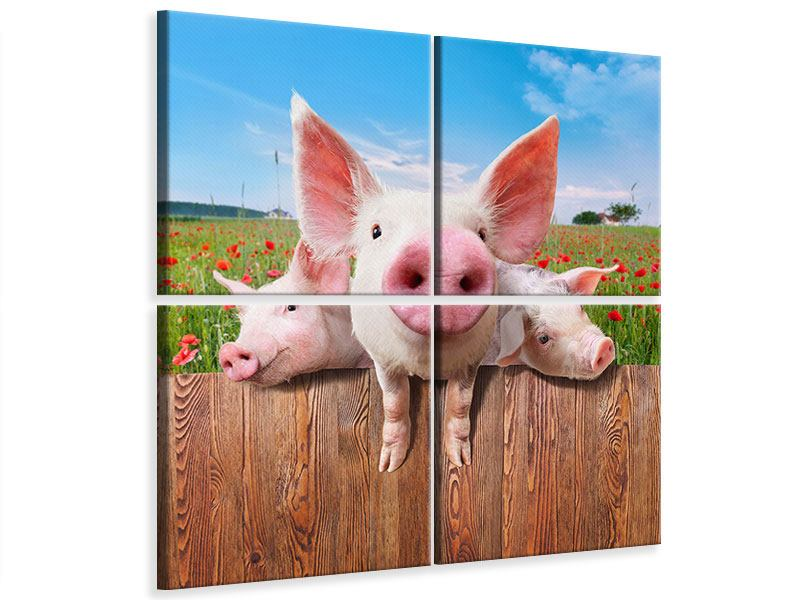 4 Piece Canvas Print Pig In Luck