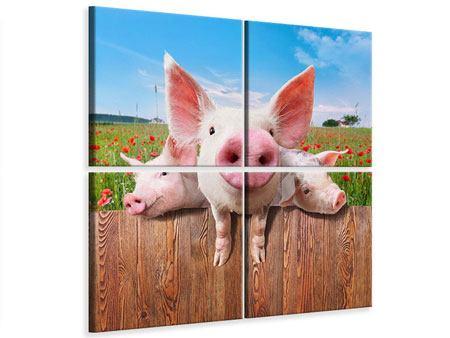 Leinwandbild 4-teilig Schweinchen im Glück