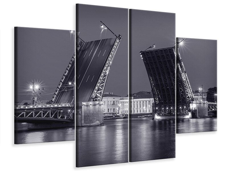 Leinwandbild 4-teilig Klappbrücke bei Nacht