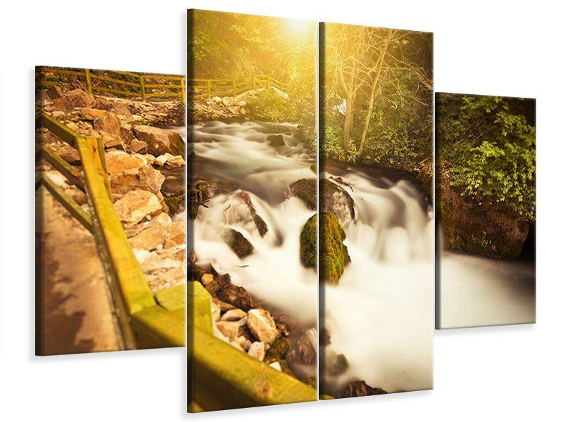 Leinwandbild 4-teilig Sonnenuntergang am Wasserfall