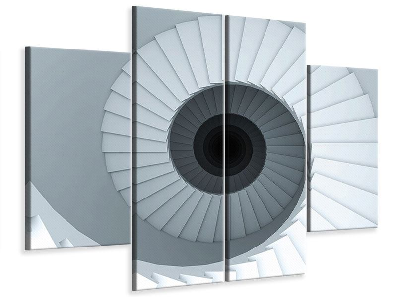 Leinwandbild 4-teilig 3D Wendeltreppe