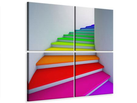 Leinwandbild 4-teilig Bunte Treppe