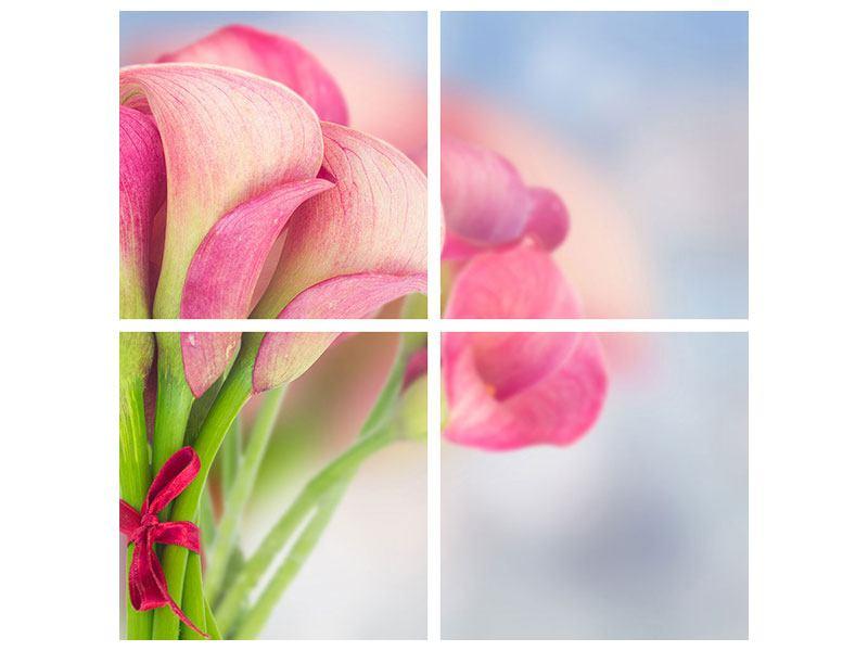 Leinwandbild 4-teilig Der Lilienstrauss