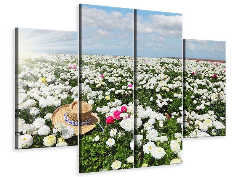 Leinwandbild 4-teilig Die Frühlingsblumenwiese