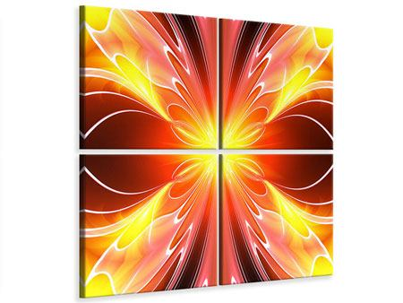 Leinwandbild 4-teilig Abstraktes Farbenspektakel