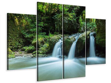 Leinwandbild 4-teilig Fallendes Wasser