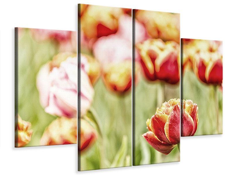 Leinwandbild 4-teilig Die Schönheit der Tulpe