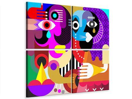 Leinwandbild 4-teilig Moderne Kunst People