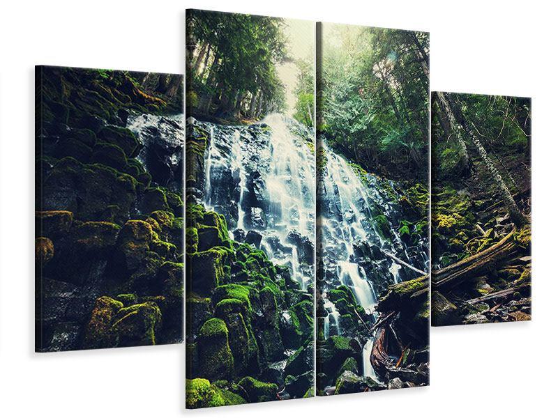 Leinwandbild 4-teilig Feng Shui & Wasserfall