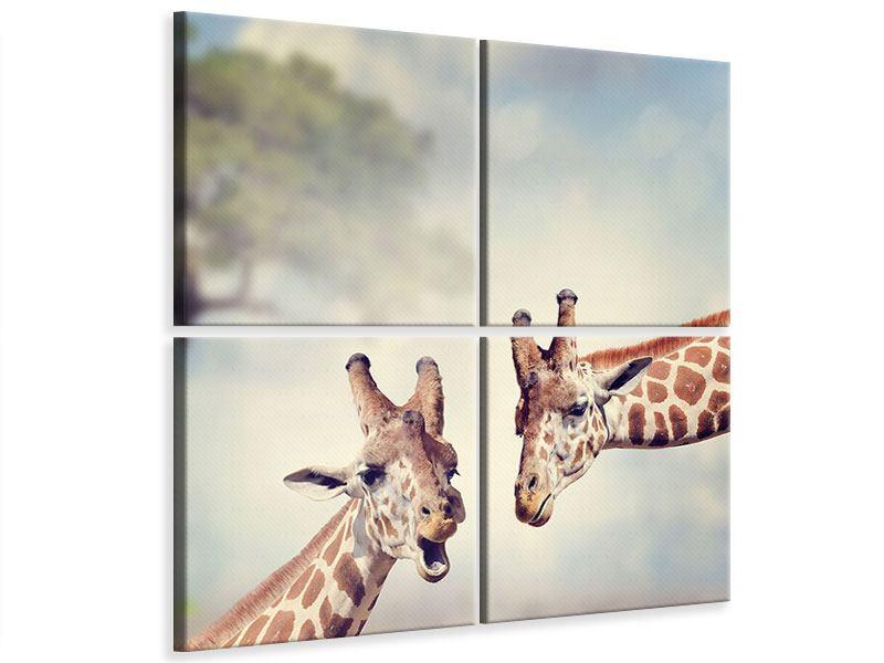 Leinwandbild 4-teilig Giraffen