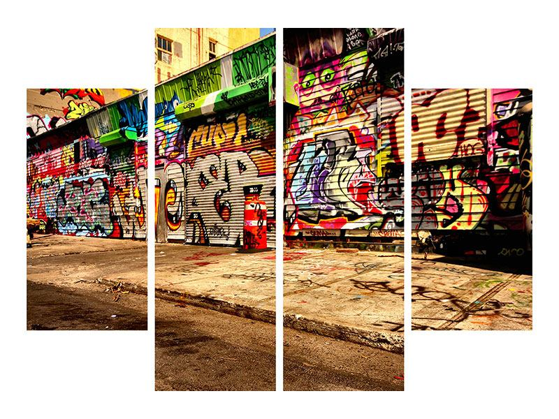 Leinwandbild 4-teilig NY Graffiti