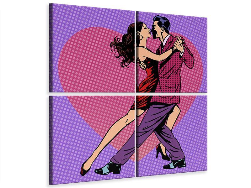 Leinwandbild 4-teilig Pop Art Lambada