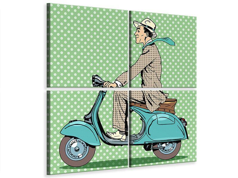 Leinwandbild 4-teilig Pop Art Vespafahrer