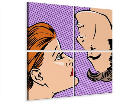 Leinwandbild 4-teilig Pop Art Love