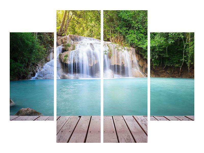 Leinwandbild 4-teilig Terrasse am Wasserfall
