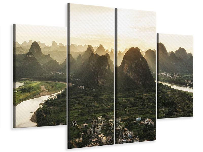 Leinwandbild 4-teilig Die Berge von Xingping