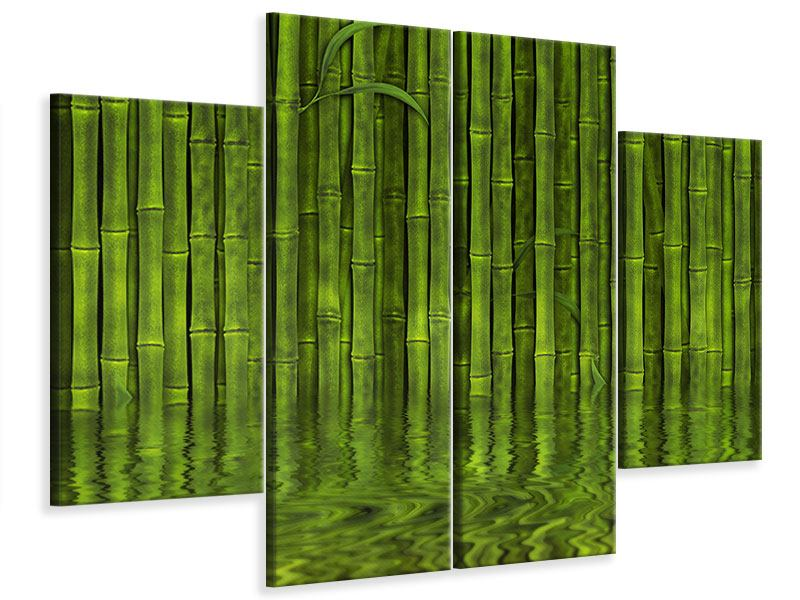 Leinwandbild 4-teilig Wasserspiegelung Bambus
