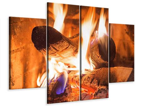Leinwandbild 4-teilig Kaminfeuer