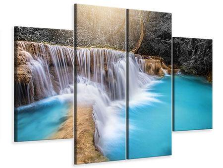 Leinwandbild 4-teilig Glücklicher Wasserfall