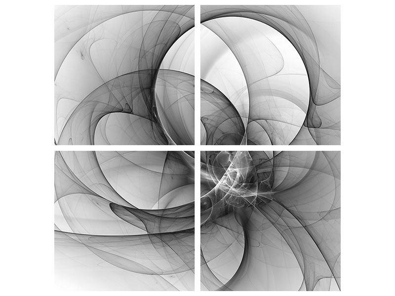 Leinwandbild 4-teilig Abstrakte Kreisende Kreise