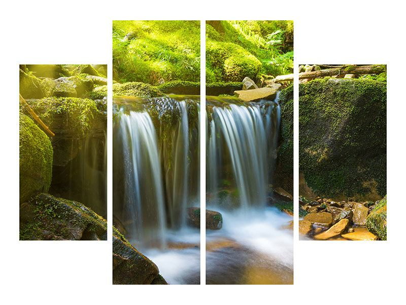 Leinwandbild 4-teilig Schönheit des fallenden Wassers