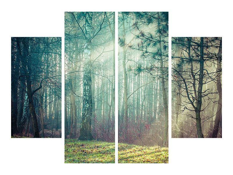 Leinwandbild 4-teilig Pinienwald