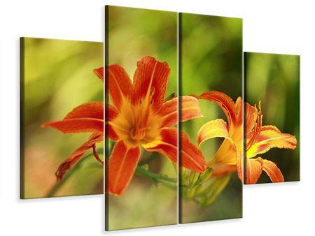 Leinwandbild 4-teilig Natural Lilien