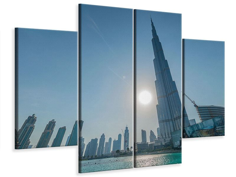 Leinwandbild 4-teilig Wolkenkratzer-Architektur Dubai