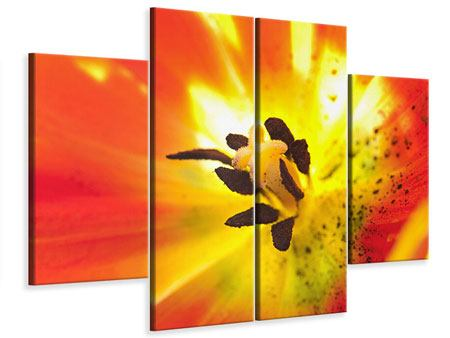 Leinwandbild 4-teilig Die Narbe einer Tulpe XXL
