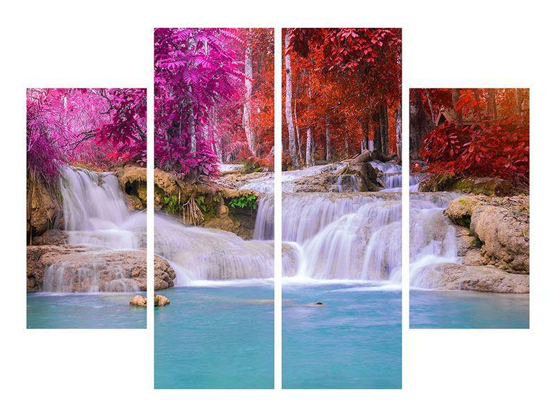 Leinwandbild 4-teilig Paradiesischer Wasserfall