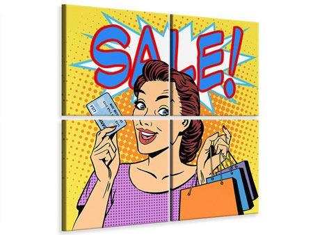 Leinwandbild 4-teilig Pop Art Sale