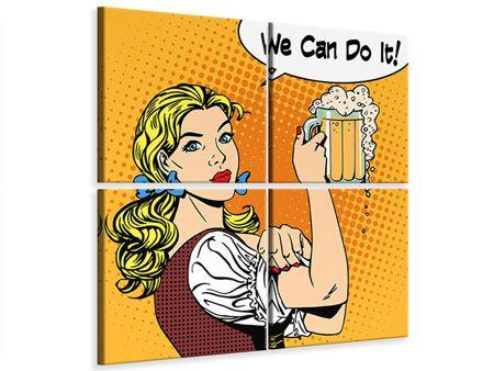 Leinwandbild 4-teilig We Can Do It