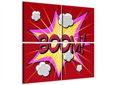 Leinwandbild 4-teilig Pop Art Boom