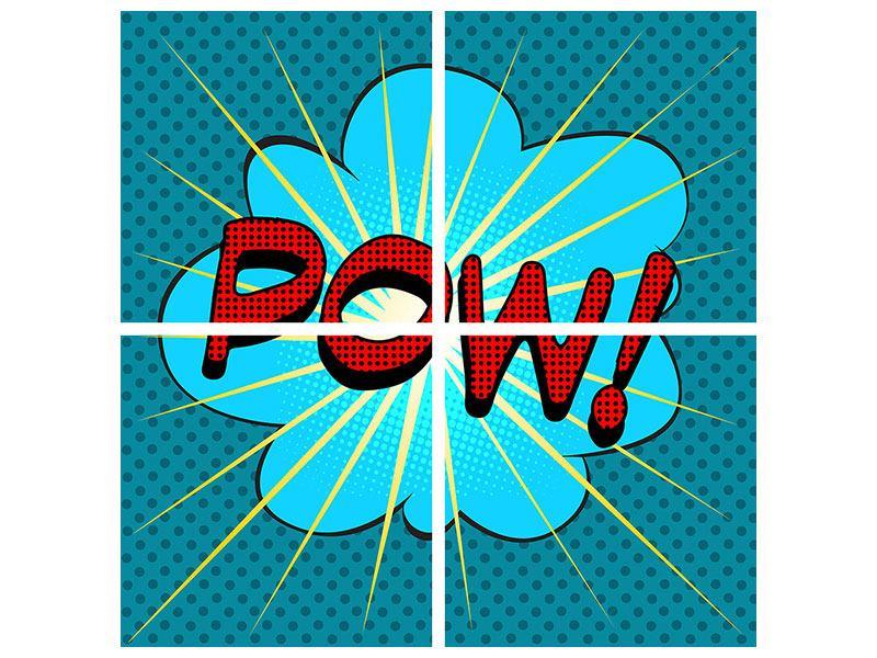 Leinwandbild 4-teilig Pop Art Pow