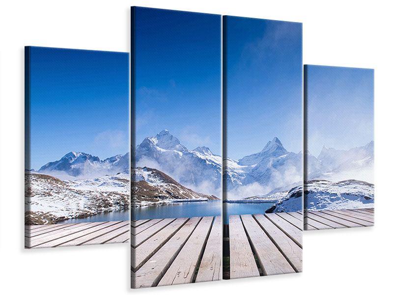 Leinwandbild 4-teilig Sonnenterrasse am Schweizer Bergsee