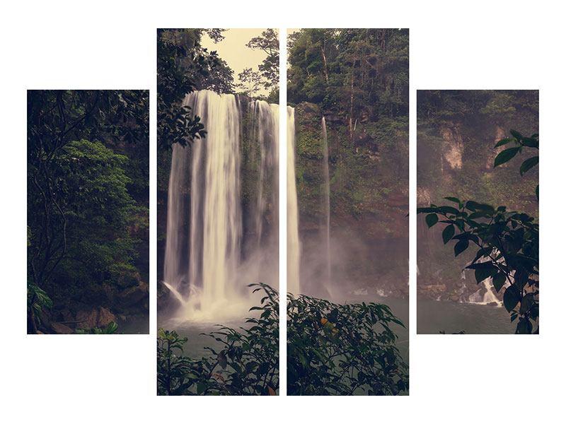 Leinwandbild 4-teilig Wasserfall in Mexiko