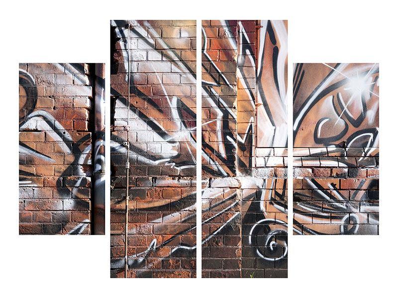 Leinwandbild 4-teilig Graffiti Mauer