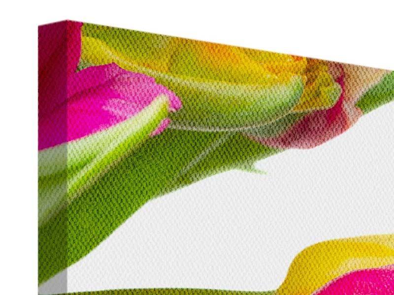 Leinwandbild 4-teilig Ein bunter Tulpenstrauss