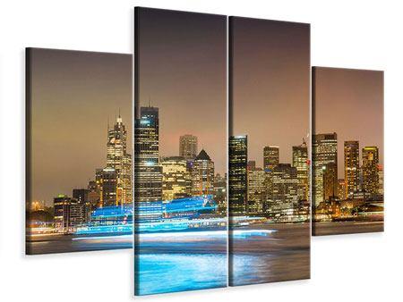 Leinwandbild 4-teilig Skyline Sydney im Lichtermeer