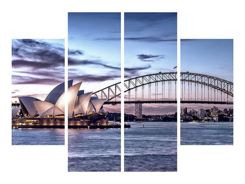 Leinwandbild 4-teilig Skyline Sydney Opera House