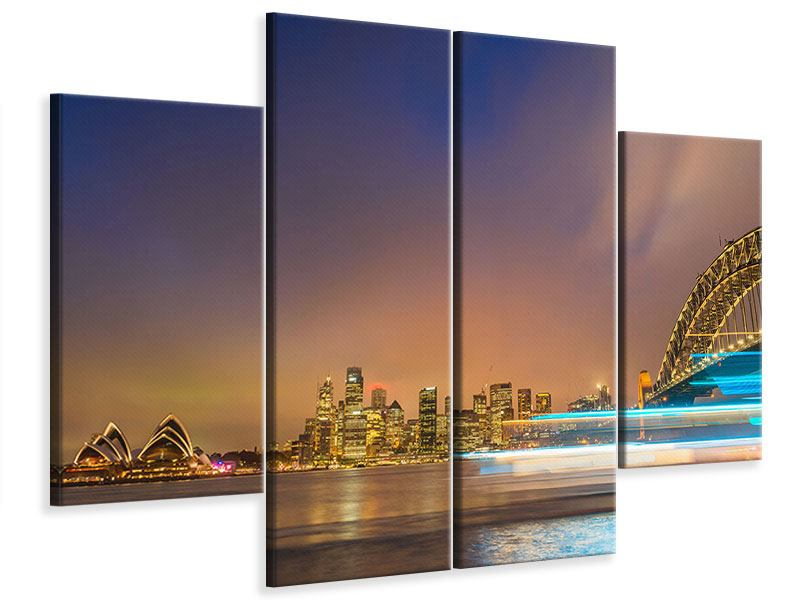 Leinwandbild 4-teilig Skyline Opera House in Sydney im Abendlicht