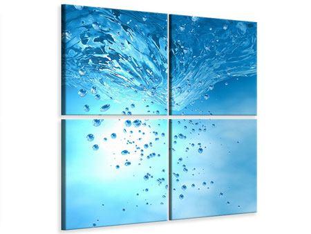 Leinwandbild 4-teilig Wasserblasen